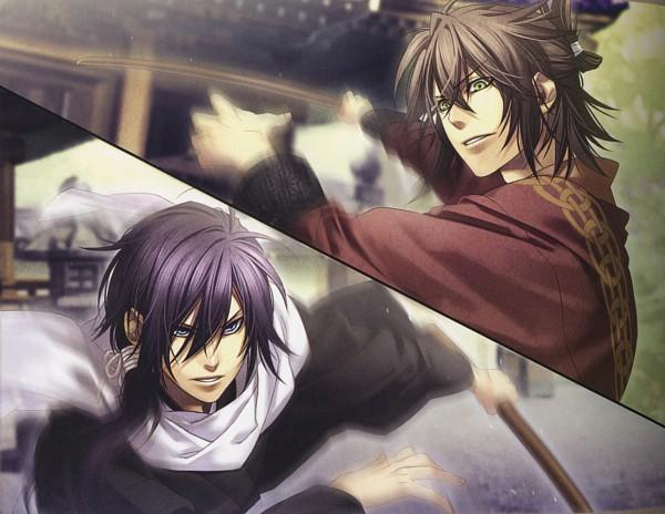 Tags: Anime, IDEA FACTORY, Hakuouki Shinsengumi Kitan, Okita Souji (Hakuouki), Saitou Hajime (Hakuouki), Official Art, CG Art, Demon Of The Fleeting Blossom