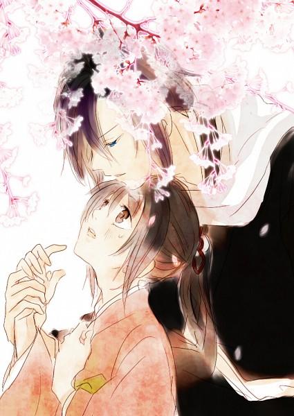 Tags: Anime, IDEA FACTORY, Hakuouki Shinsengumi Kitan, Saitou Hajime (Hakuouki), Yukimura Chizuru, Mobile Wallpaper, Demon Of The Fleeting Blossom
