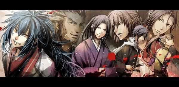 Tags: Anime, Kurumi (Pixiv1223400), Hakuouki Shinsengumi Kitan, Harada Sanosuke (Hakuouki), Toudou Heisuke (Hakuouki), Saitou Hajime (Hakuouki), Serizawa Kamo (Hakuouki), Hijikata Toshizou (Hakuouki), Ryunosuke Ibuki, Okita Souji (Hakuouki), Pixiv, Facebook Cover, Fanart, Demon Of The Fleeting Blossom