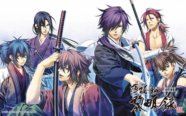Tags: Anime, Kazuki Yone, IDEA FACTORY, Hakuouki Shinsengumi Kitan, Harada Sanosuke (Hakuouki), Toudou Heisuke (Hakuouki), Okita Souji (Hakuouki), Saitou Hajime (Hakuouki), Hijikata Toshizou (Hakuouki), Ryunosuke Ibuki, Official Art, Official Wallpaper, Wallpaper, Demon Of The Fleeting Blossom