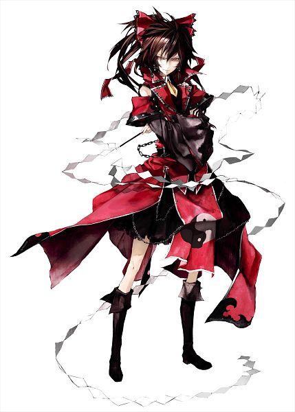 Tags: Anime, Banpai Akira, Frontier Aja, ZUN, Koumajou Densetsu, Touhou, Hakurei Reimu, Yin Yang (Symbol), Mobile Wallpaper, Official Art, Reimu Hakurei