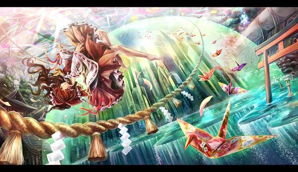 Tags: Anime, Afraco, Touhou, Hakurei Reimu, Origami, Reimu Hakurei