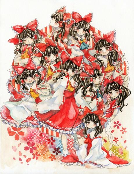 Tags: Anime, Pixiv Id 1835602, Touhou, Hakurei Reimu, Watercolor, Traditional Media, Reimu Hakurei