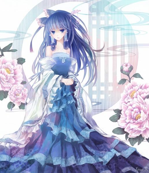 Tags: Anime, Effier Kyo, Touhou, Hakurei Reimu, Peony, Gown, Pixiv, Reimu Hakurei
