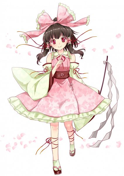Tags: Anime, Monrooru, Touhou, Hakurei Reimu, Green Armwear, Flower Eyes, Green Legwear, Fanart, Fanart From Pixiv, Pixiv, Sakura Design, Reimu Hakurei