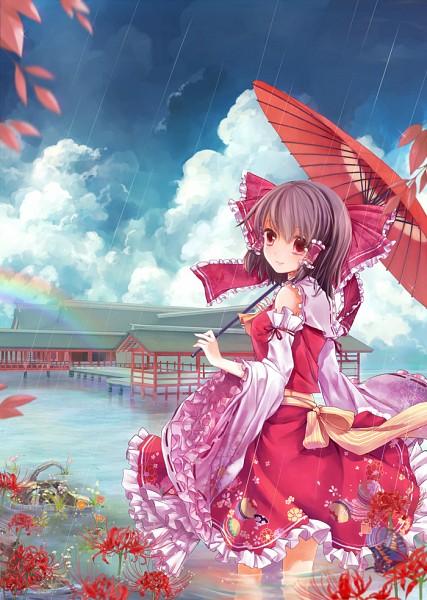 Tags: Anime, Tsukimiya Kamiko, Touhou, Hakurei Reimu, Striped Ribbon, Fanart, Pixiv, Mobile Wallpaper, Reimu Hakurei