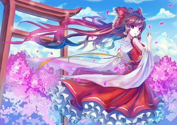 Tags: Anime, Qin, Touhou, Hakurei Reimu, Pixiv, Fanart, Reimu Hakurei
