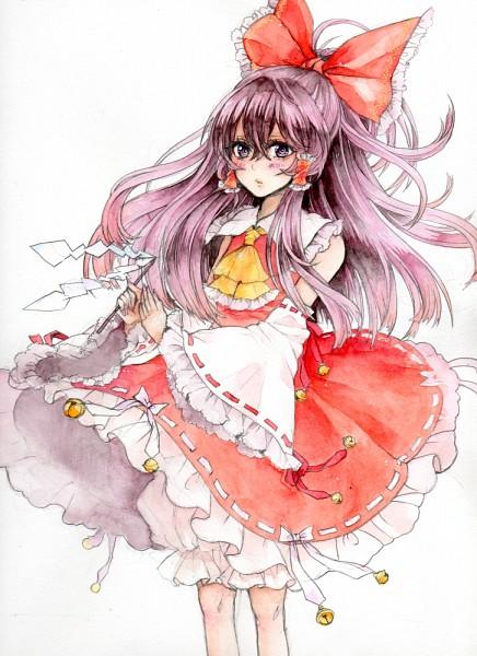 Tags: Anime, Yutsumoe, Touhou, Hakurei Reimu, Traditional Media, Watercolor, Reimu Hakurei