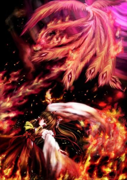 Tags: Anime, Miyai Haruki, Touhou, Hakurei Reimu, Phoenix, Pixiv, Reimu Hakurei