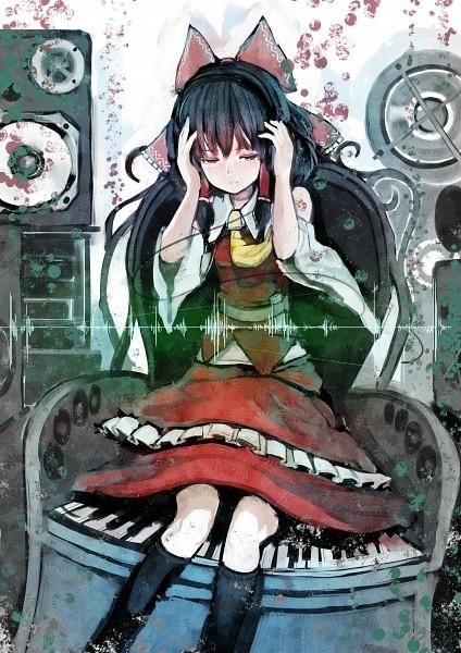Tags: Anime, Organ Derwald, Touhou, Hakurei Reimu, Speaker, Piano Keys, Pixiv, Fanart, Reimu Hakurei