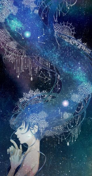 Tags: Anime, Hal (Suck It), Galaxy, Diamond (Gem), Constellation, Milky Way, Tanabata, Hanging, Pixiv, Original