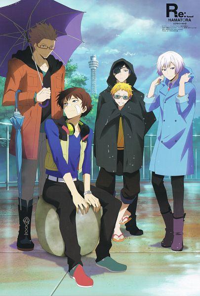 Tags: Anime, Lerche, Hamatora, Art (Hamatora), Murasaki (Hamatora), Nice (Hamatora), Birthday (Hamatora), Ratio (Hamatora), Rain Coat, Mobile Wallpaper, Scan, Official Art