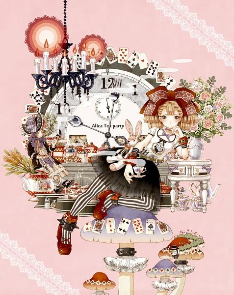 Tags: Anime, Hamondo, Alice in Wonderland, Alice (Alice in Wonderland), Caterpillar, Kettle, Vase, Salt, Chandelier, Pixiv