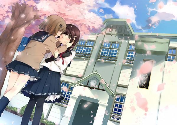 Tags: Anime, Hanabana Tsubomi, School Building, Graduation, Pixiv, Original