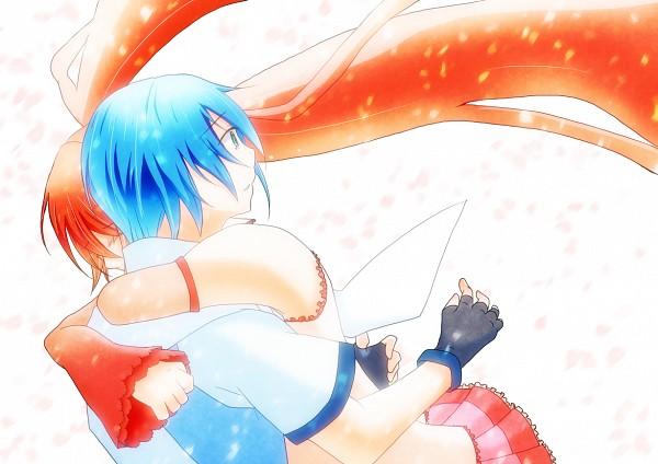 Tags: Anime, Pixiv Id 1234825, VOCALOID, Hatsune Mikuo, Hatsune Miku, Pounce, Surprise Hug, Yuki Design, Sakura Design, Hanabie (VOCALOID)