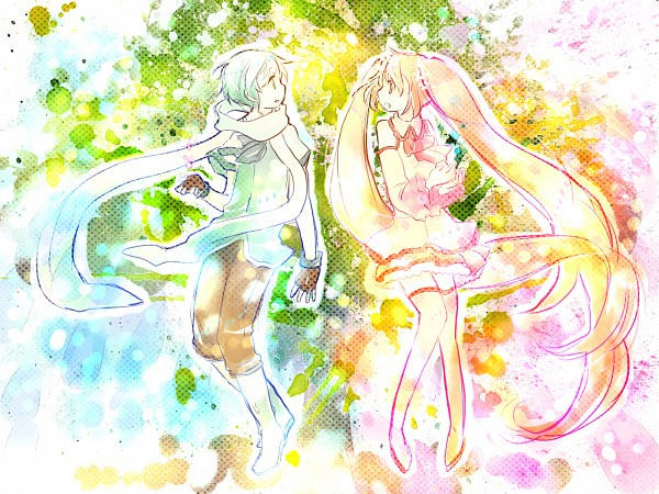 Tags: Anime, 7:24, VOCALOID, Hatsune Miku, Hatsune Mikuo, Sakura Design, Hanabie (VOCALOID), Yuki Design