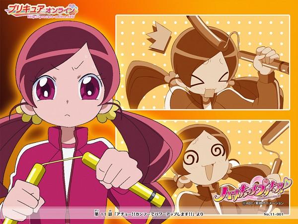 Tags: Anime, Heartcatch Precure!, Hanasaki Tsubomi, Numchuks, @_@, Wallpaper, Official Art, Official Wallpaper