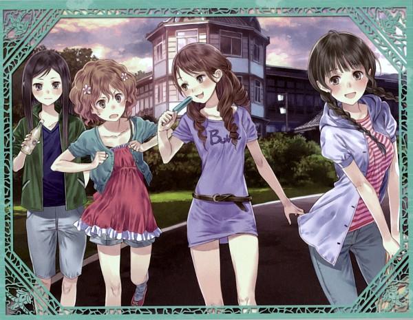 Tags: Anime, Kishida Mel, P.A. Works, Hanasaku Iroha, Wakura Yuina, Tsurugi Minko, Oshimizu Nako, Matsumae Ohana, Wallpaper, Official Art, Original, Scan, The Colors Of The Blooming