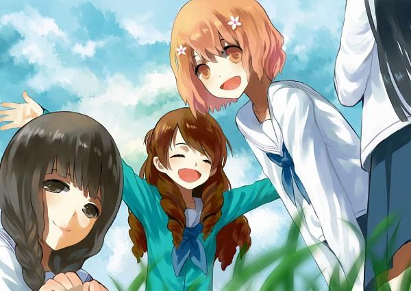 Tags: Anime, Moekon, Hanasaku Iroha, Matsumae Ohana, Wakura Yuina, Tsurugi Minko, Oshimizu Nako, Pixiv, Fanart, The Colors Of The Blooming