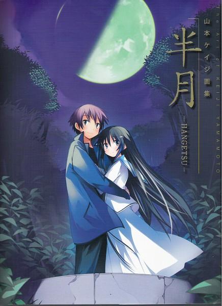 Tags: Anime, Yamamoto Keiji, Hanbun no Tsuki ga Noboru Sora, Ezaki Yuuichi, Akiba Rika, Official Art