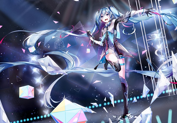 Tags: Anime, Pixiv Id 3402936, VOCALOID, Hatsune Miku, Spotlight, Cracks, Cube, Stage, Square, Magical Mirai, Pixiv, Fanart, Fanart From Pixiv
