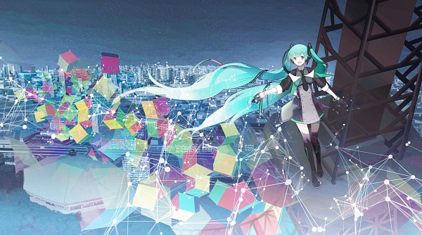 Tags: Anime, CHRIS, VOCALOID, Hatsune Miku, Skyscraper, Multi-colored Ribbon, Striped Ribbon, Fanart From Pixiv, Magical Mirai, Fanart, Pixiv, Wallpaper, Facebook Cover