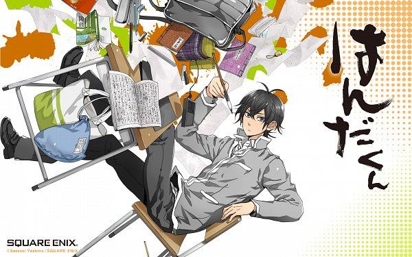 Tags: Anime, Yoshino Satsuki, Handa-kun, Handa Seishuu, Ruler, Stationery, Eraser, Mechanical Pencil, Pencil Case, Official Art, Official Wallpaper, Wallpaper