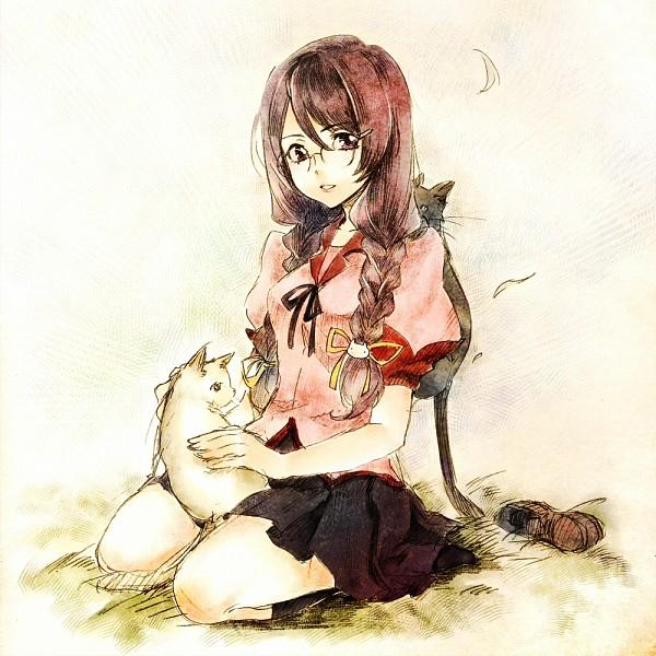 Tags: Anime, Tamachi Kuwa, Monogatari, Hanekawa Tsubasa, Footwear Off, Animal on Lap, Fanart