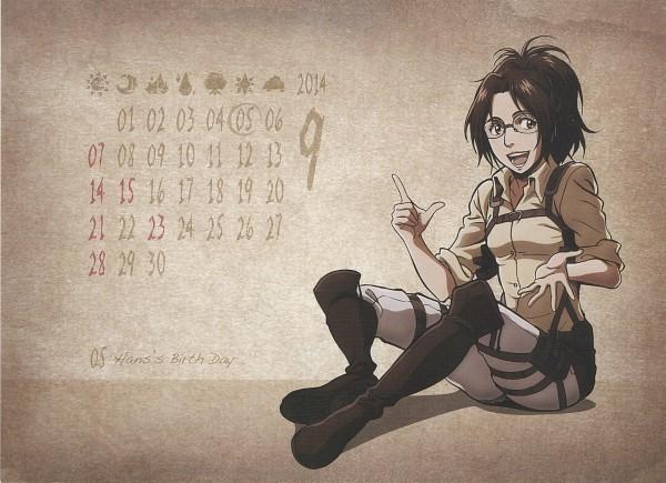 Tags: Anime, WIT STUDIO, Attack on Titan, Shingeki no Kyojin School Calendar, Hange Zoë, Scan, Calendar 2014, Calendar (Source), Official Art, Hanji Zoé
