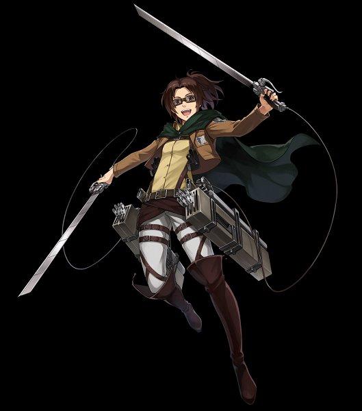 Tags: Anime, Fuji&gumi Games, Attack on Titan, Dare ga Tame no Alchemist, Hange Zoë, Multiple Weapons, Official Art, Hanji Zoé