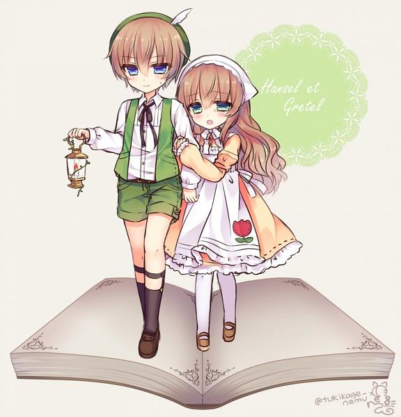 Tags: Anime, Alicerabbit, Hansel and Gretel, Hansel, Gretel, Lolita Hat, Green Vest, Fanart From Pixiv, Pixiv, PNG Conversion, Fanart