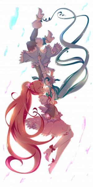Tags: Anime, Senba Hikari, HappinessCharge Precure!, Cure Princess, Cure Lovely, Shirayuki Hime, Aino Megumi, Kissing Upside Down, Pixiv, Fanart, Fanart From Pixiv