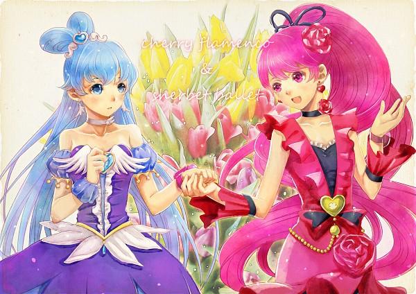 Tags: Anime, Youhe, HappinessCharge Precure!, Cure Princess, Cure Lovely, Shirayuki Hime, Aino Megumi, Tulip, Flamenco, Ballerina Outfit, Fanart, Cherry Flamenco, Pixiv