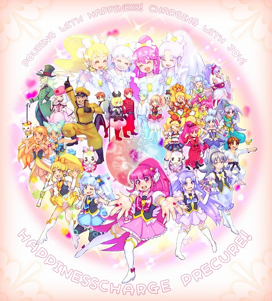 Tags: Anime, Pixiv Id 118669, HappinessCharge Precure!, Aino Megumi, Red (Pretty Cure), Hikawa Iona, Cure Wave, Namakeruda, Phanphan, Ribbon (Pretty Cure), Oresukii, Cure Sunset, Cure Fortune