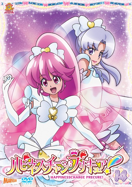 Tags: Anime, Satou Masayuki, HappinessCharge Precure!, Aino Megumi, Hikawa Iona, Cure Lovely, Cure Fortune, Innocent Form, DVD (Source), Official Art, Scan, Mobile Wallpaper