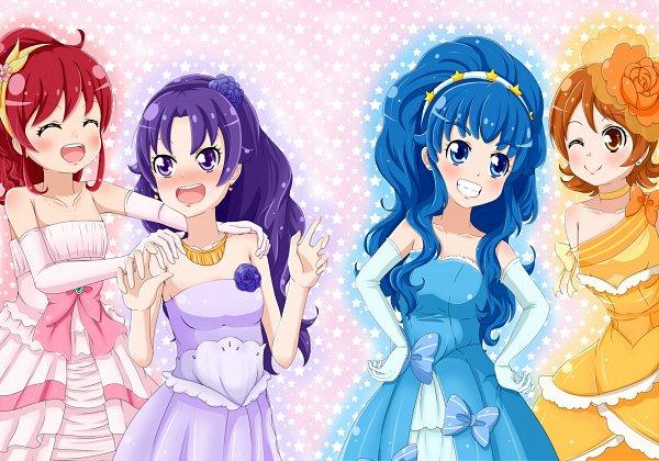 Tags: Anime, Pixiv Id 1341354, HappinessCharge Precure!, Hikawa Iona, Oumori Yuuko, Shirayuki Hime, Aino Megumi, Pink Handwear, Pink Gloves, Fanart, Fanart From Pixiv, Pixiv