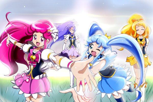 Tags: Anime, Aitaso, HappinessCharge Precure!, Cure Princess, Oumori Yuuko, Cure Lovely, Shirayuki Hime, Cure Honey, Aino Megumi, Hikawa Iona, Cure Fortune, Yellow Skirt, Blue Armwear