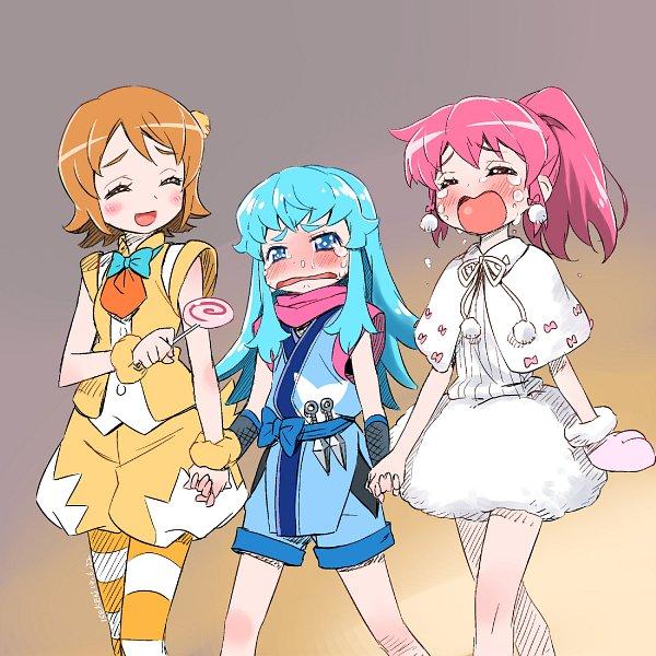 Tags: Anime, Isedaichi Ken, HappinessCharge Precure!, Aino Megumi, Oumori Yuuko, Shirayuki Hime, Bird Costume, Dog Costume, Fanart From Pixiv, Twitter, Pixiv, Fanart