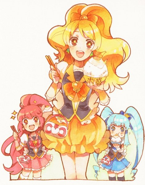 Tags: Anime, Pixiv Id 7253432, HappinessCharge Precure!, Cure Princess, Oumori Yuuko, Cure Lovely, Shirayuki Hime, Aino Megumi, Cure Honey, Rice, Pixiv, Fanart, Fanart From Pixiv