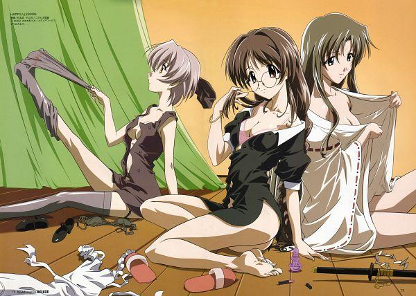 Tags: Anime, Sugimoto Isao, Happy Lesson, Ninomai Kisaragi, Yayoi Sanzenin, Ichimonji Mutsuki, Sock Pull, Official Art, Scan