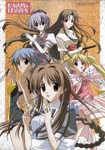 Tags: Anime, Happy Lesson, Shitenno Uzuki, Yayoi Sanzenin, Ninomai Kisaragi, Ichimonji Mutsuki, Gokajo Satsuki, Official Art
