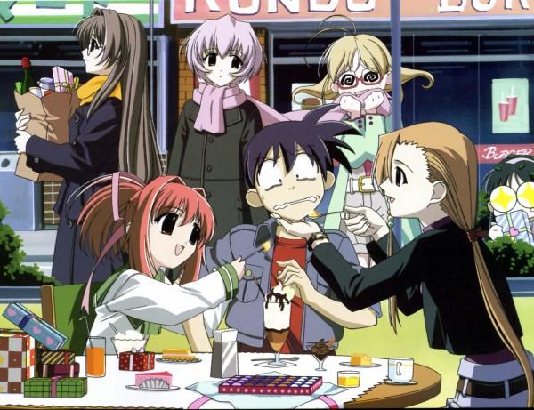 Tags: Anime, Happy Lesson, Togakushi Kanna, Rokumatsuri Minazuki, Ninomai Kisaragi, Chitose Hitotose, Ichimonji Mutsuki, Yazakura Hazuki, @_@, Shopping Bag, Official Art