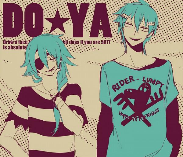 Tags: Anime, Shiduki Sayaka, Happy Tree Friends, Lumpy, Russell, Skull And Crossbones, Fanart