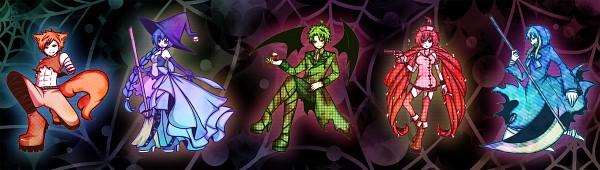 Tags: Anime, Pixiv Id 2983731, Happy Tree Friends, Petunia (HTF), Lumpy, Grim Reaper, Flippy, Flaky, Handy, Werewolf, Vampire Costume, Fanart