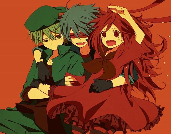 Tags: Anime, Kurita Bear, Happy Tree Friends, Splendid (HTF), Flippy, Flaky, Nervous, Surprise Hug, Pixiv, Fanart