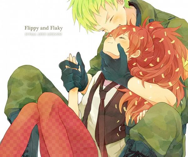 Tags: Anime, Yy888s, Happy Tree Friends, Flippy, Flaky, Kiss on the Head, Pixiv, Fanart, Fanart From Pixiv