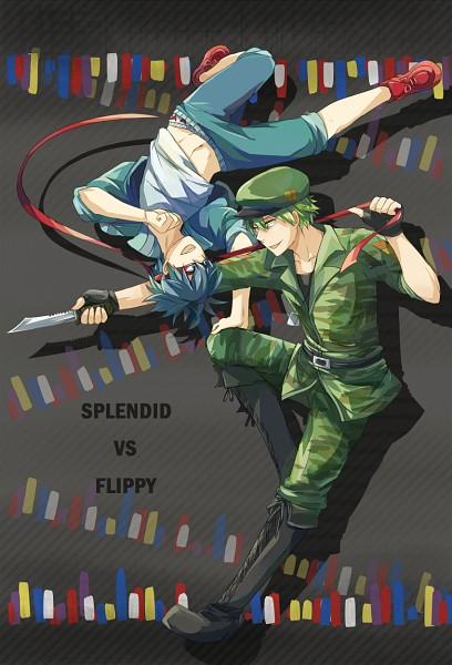 Tags: Anime, Pixiv Id 2300500, Happy Tree Friends, Splendid (HTF), Flippy, Rolled Up Pants, Acrobatics, Flip, Rivals, VS, Fanart, Fanart From Pixiv, Mobile Wallpaper