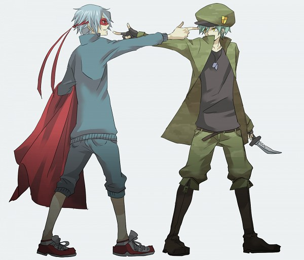 Tags: Anime, Yuruse, Happy Tree Friends, Flippy, Splendid (HTF), Aiming At Another, Mexican Standoff, Fanart, PNG Conversion, Pixiv