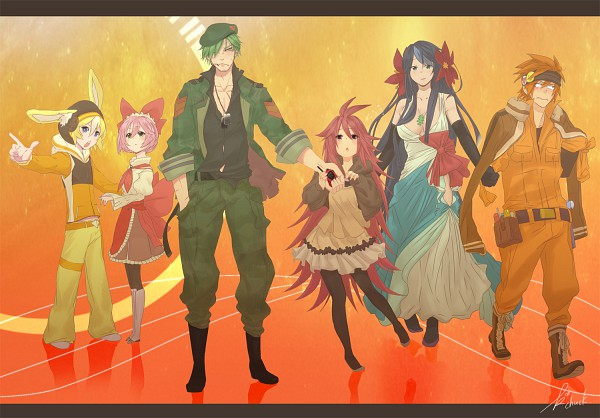 Tags: Anime, KAB00M CHUCK, Happy Tree Friends, Flippy, Flaky, Handy, Petunia (HTF), Giggles (HTF), Cuddles (HTF), Pixiv