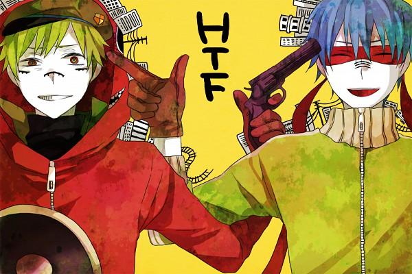 Tags: Anime, Kiri / 桐, Happy Tree Friends, Flippy, Splendid (HTF), Mexican Standoff, Gun Gesture, Aiming At Another, Matryoshka, Fanart